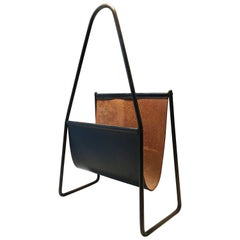 Carl Auböck II Vintage Magazine Stand, Black Patinated Leather, Austria, 1950s