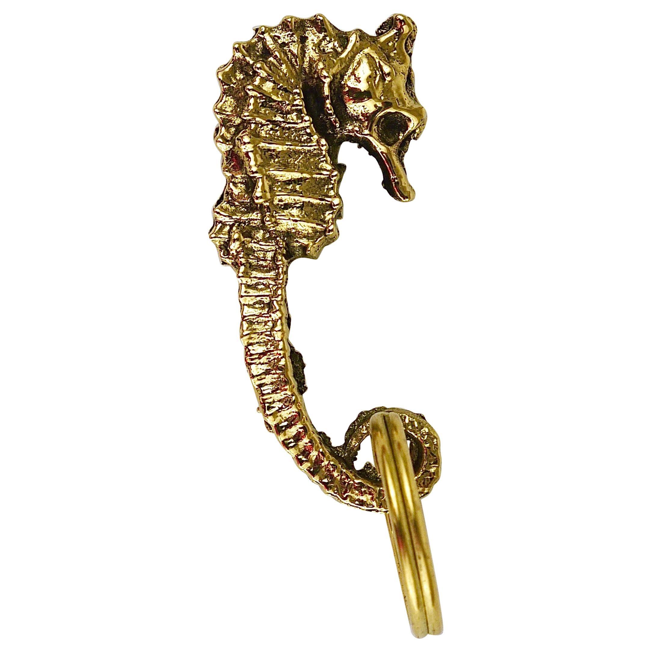 Carl Auböck Midcentury Brass Seahorse Handmade Key Ring Chain Holder