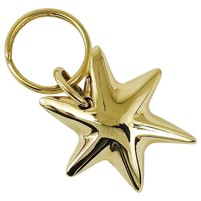 Carl Auböck Midcentury Brass Star Sea Star Starfish Key Ring Chain Holder For Sale