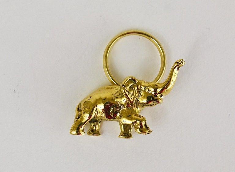 Carl Auböck Midcentury Elephant Handmade Brass Figurine Key Ring Chain Holder For Sale 3