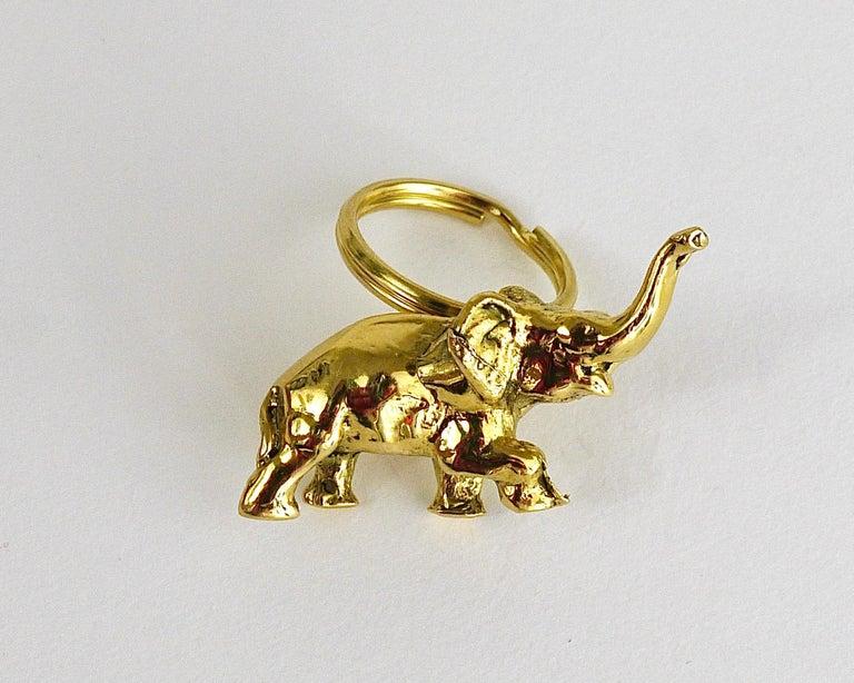 Austrian Carl Auböck Midcentury Elephant Handmade Brass Figurine Key Ring Chain Holder For Sale