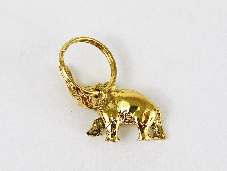 Polished Carl Auböck Midcentury Elephant Handmade Brass Figurine Key Ring Chain Holder For Sale