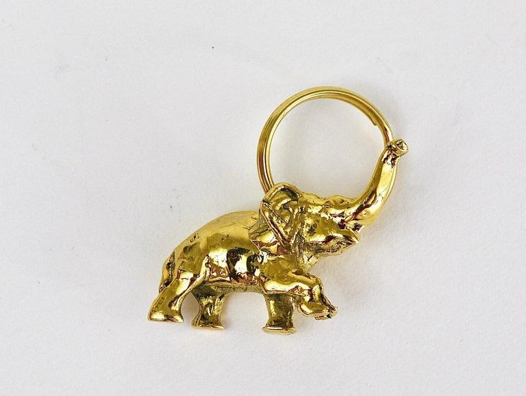20th Century Carl Auböck Midcentury Elephant Handmade Brass Figurine Key Ring Chain Holder For Sale