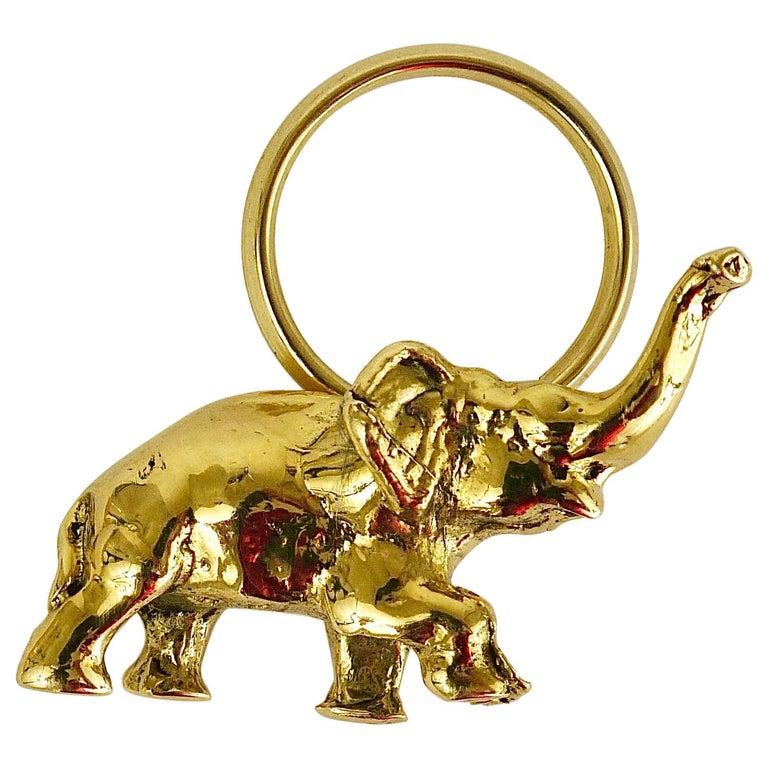 Carl Auböck Midcentury Elephant Handmade Brass Figurine Key Ring Chain Holder For Sale