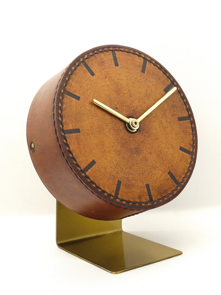 Carl Auböck Midcentury Leather and Brass Desk Table Clock, Austria, 1950s For Sale 3