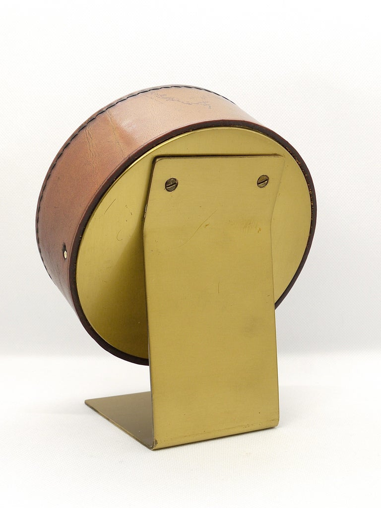 Carl Auböck Midcentury Leather and Brass Desk Table Clock, Austria, 1950s For Sale 5