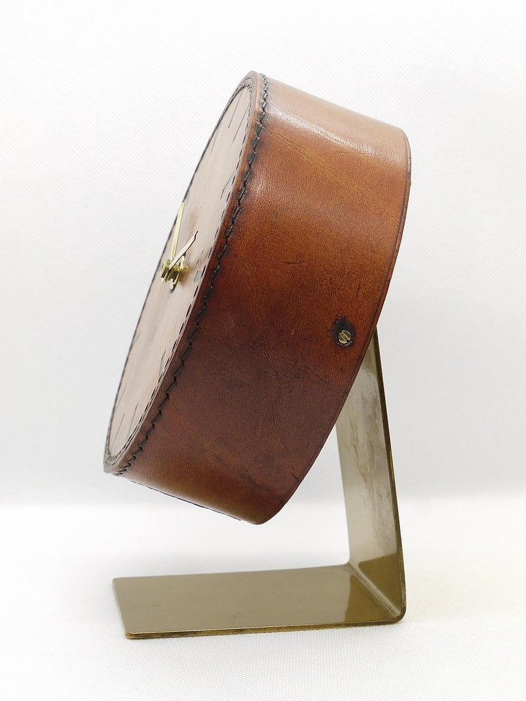 Carl Auböck Midcentury Leather and Brass Desk Table Clock, Austria, 1950s For Sale 6