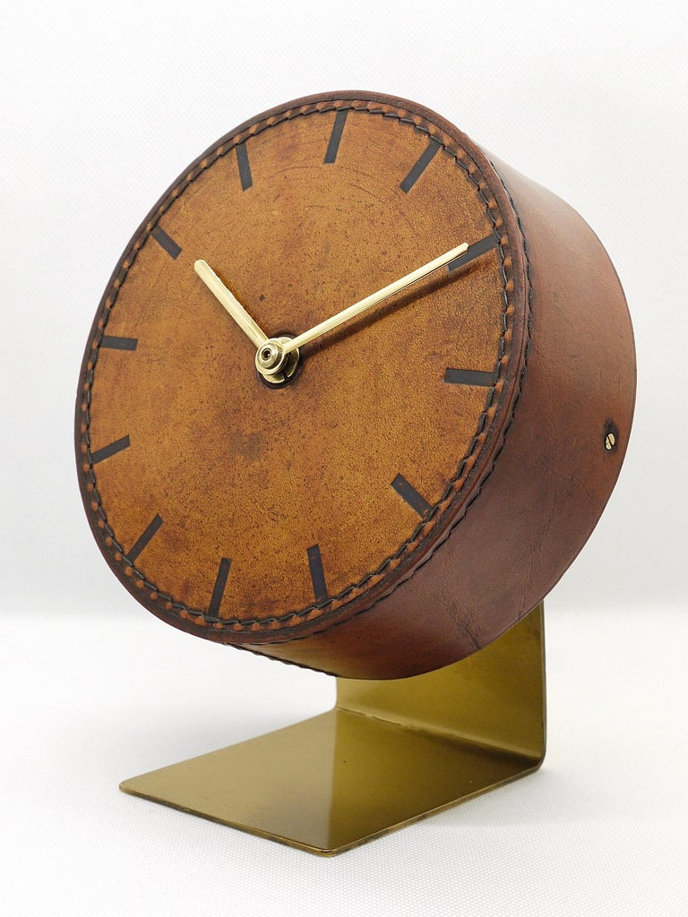 Carl Auböck Midcentury Leather and Brass Desk Table Clock, Austria, 1950s For Sale 7