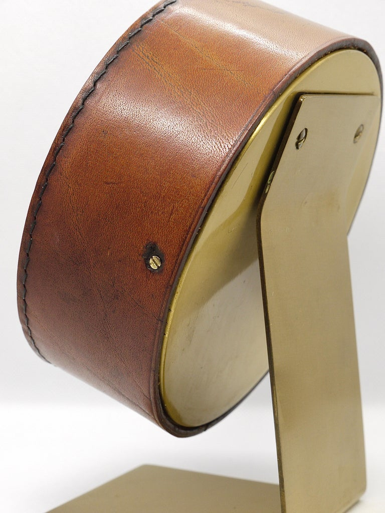 Carl Auböck Midcentury Leather and Brass Desk Table Clock, Austria, 1950s For Sale 8