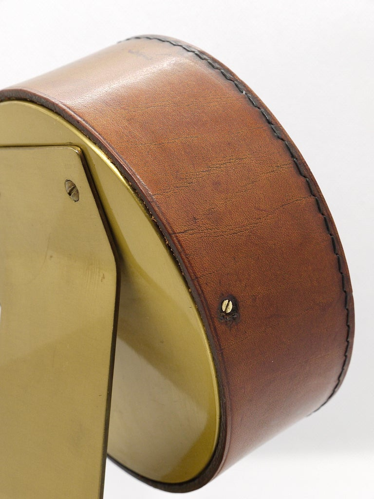 Carl Auböck Midcentury Leather and Brass Desk Table Clock, Austria, 1950s For Sale 9