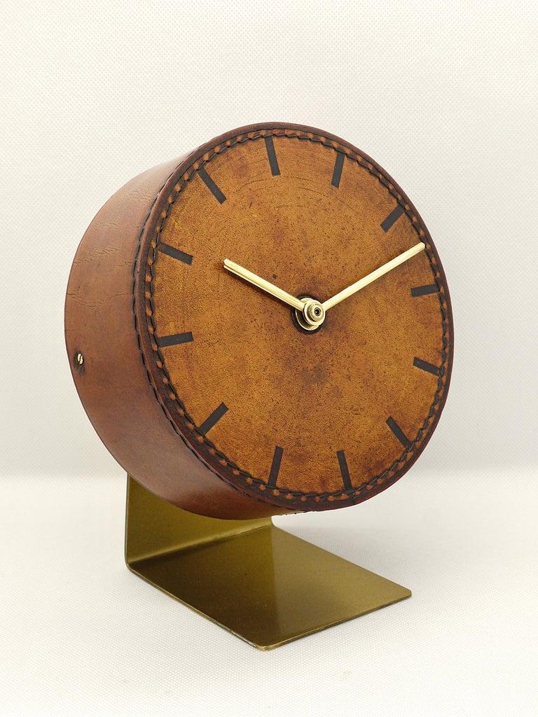 Mid-Century Modern Carl Auböck Midcentury Leather and Brass Desk Table Clock, Austria, 1950s For Sale