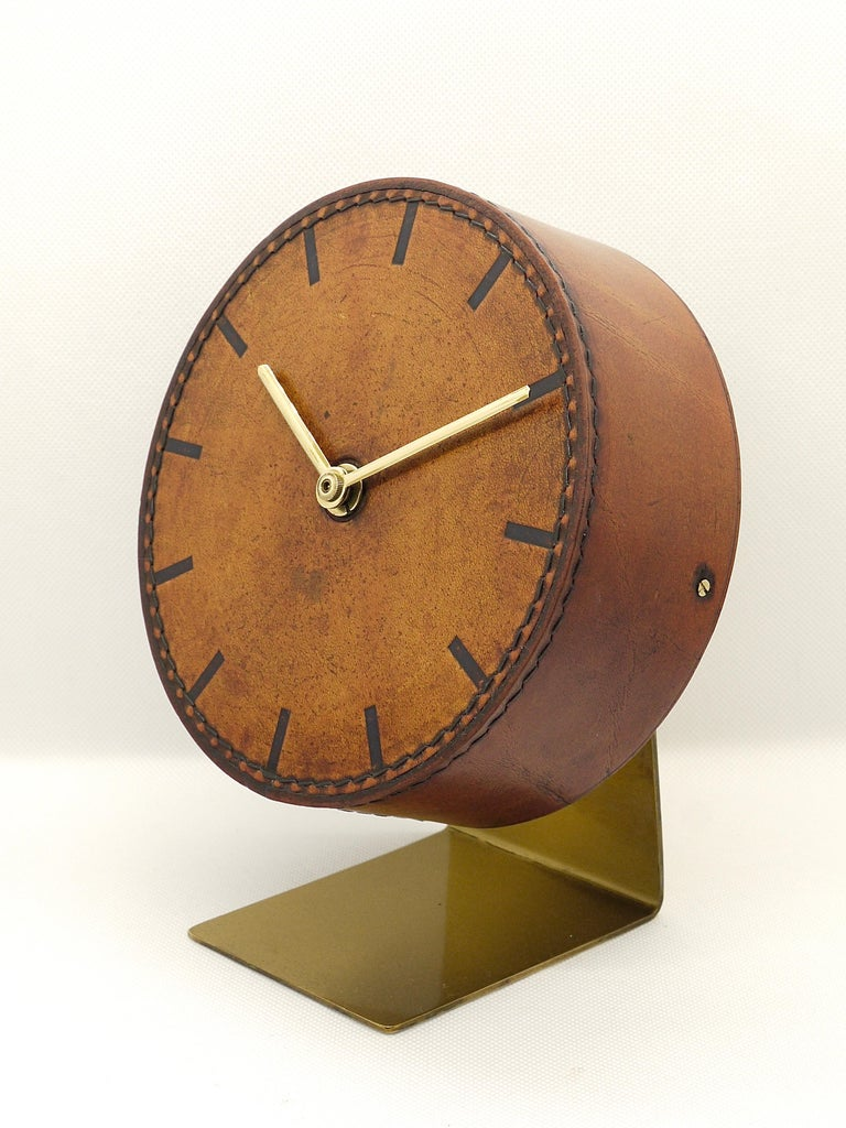 Austrian Carl Auböck Midcentury Leather and Brass Desk Table Clock, Austria, 1950s For Sale