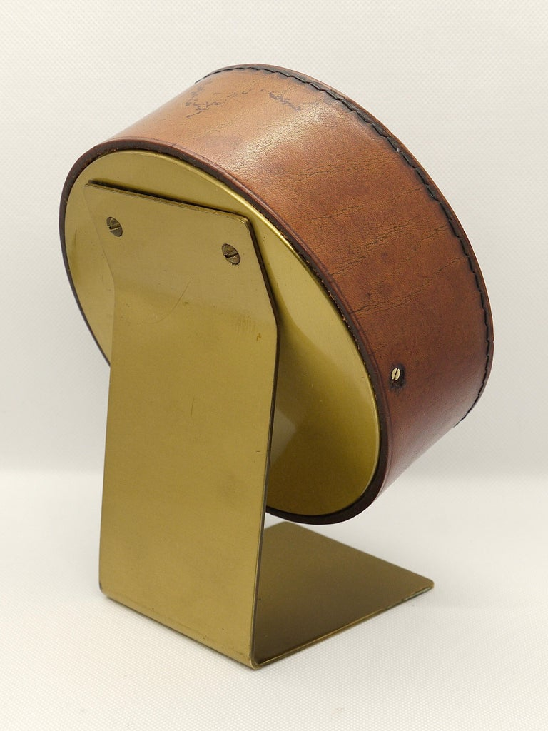 20th Century Carl Auböck Midcentury Leather and Brass Desk Table Clock, Austria, 1950s For Sale