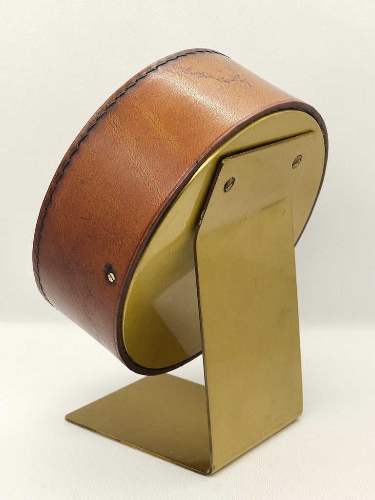 Metal Carl Auböck Midcentury Leather and Brass Desk Table Clock, Austria, 1950s For Sale