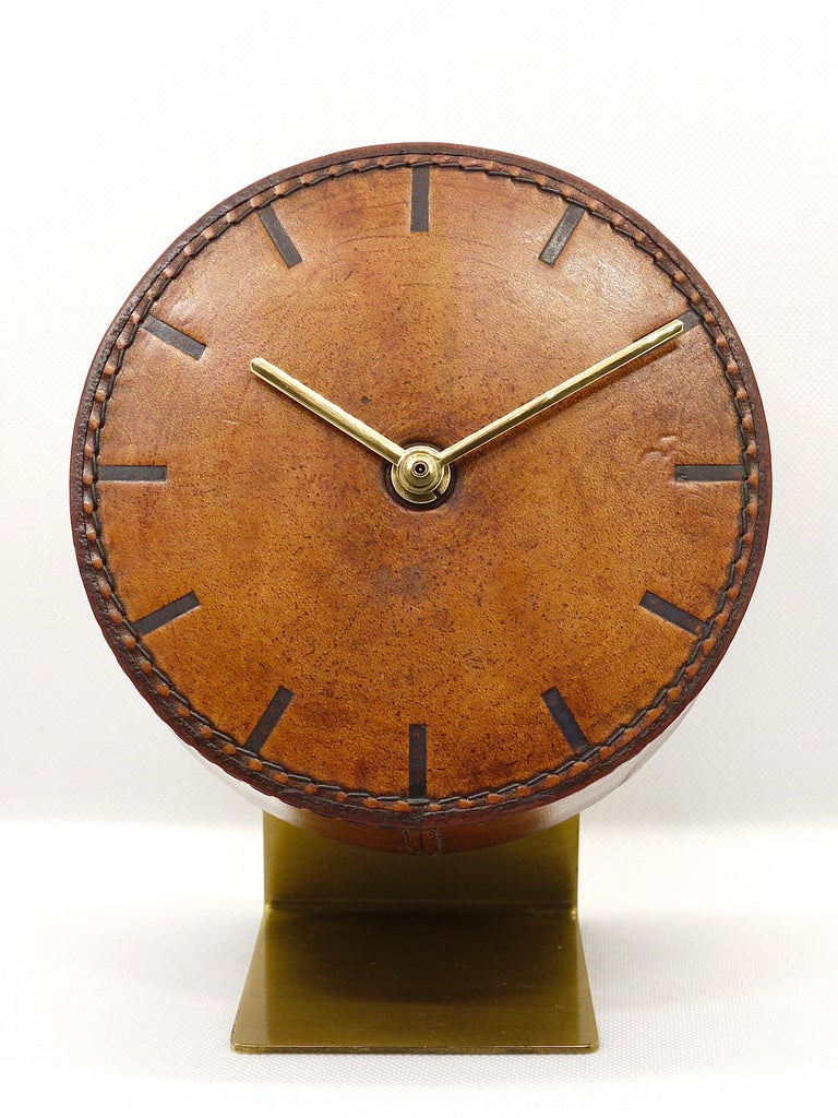 Carl Auböck Midcentury Leather and Brass Desk Table Clock, Austria, 1950s For Sale 2