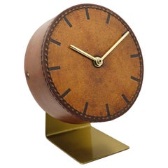 Carl Auböck Midcentury Leather and Brass Desk Table Clock, Austria, 1950s