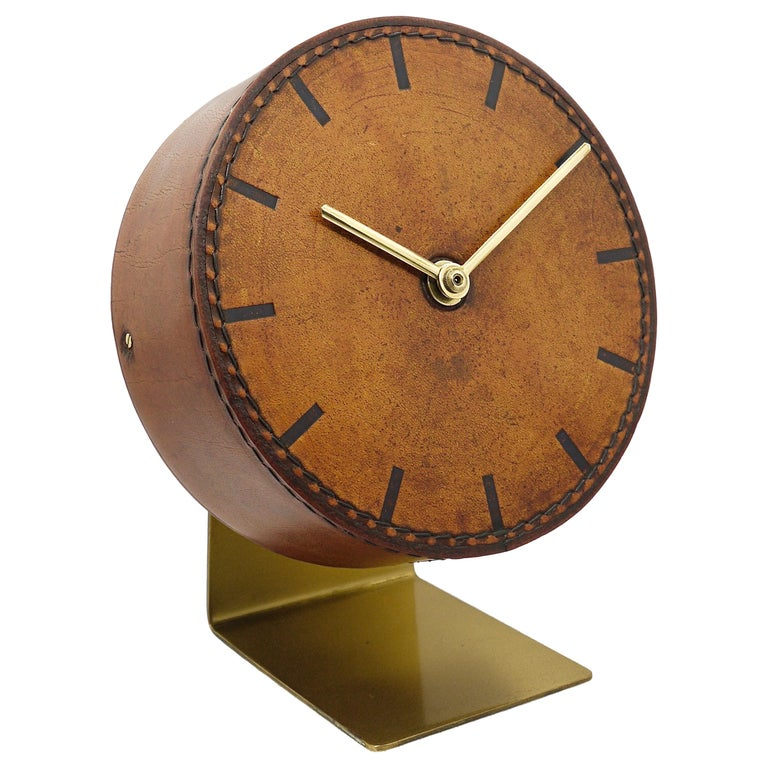 Carl Auböck Midcentury Leather and Brass Desk Table Clock, Austria, 1950s For Sale