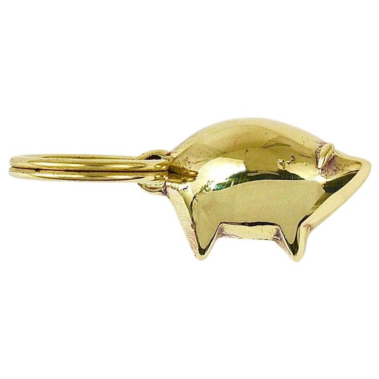 Carl Auböck Midcentury Lucky Charm Pig Brass Figurine Key Ring Chain Holder For Sale