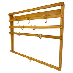 Carl Auböck Midcentury Oak Wall Coat Rack with Eight Brass Hooks, 1950s, Austria