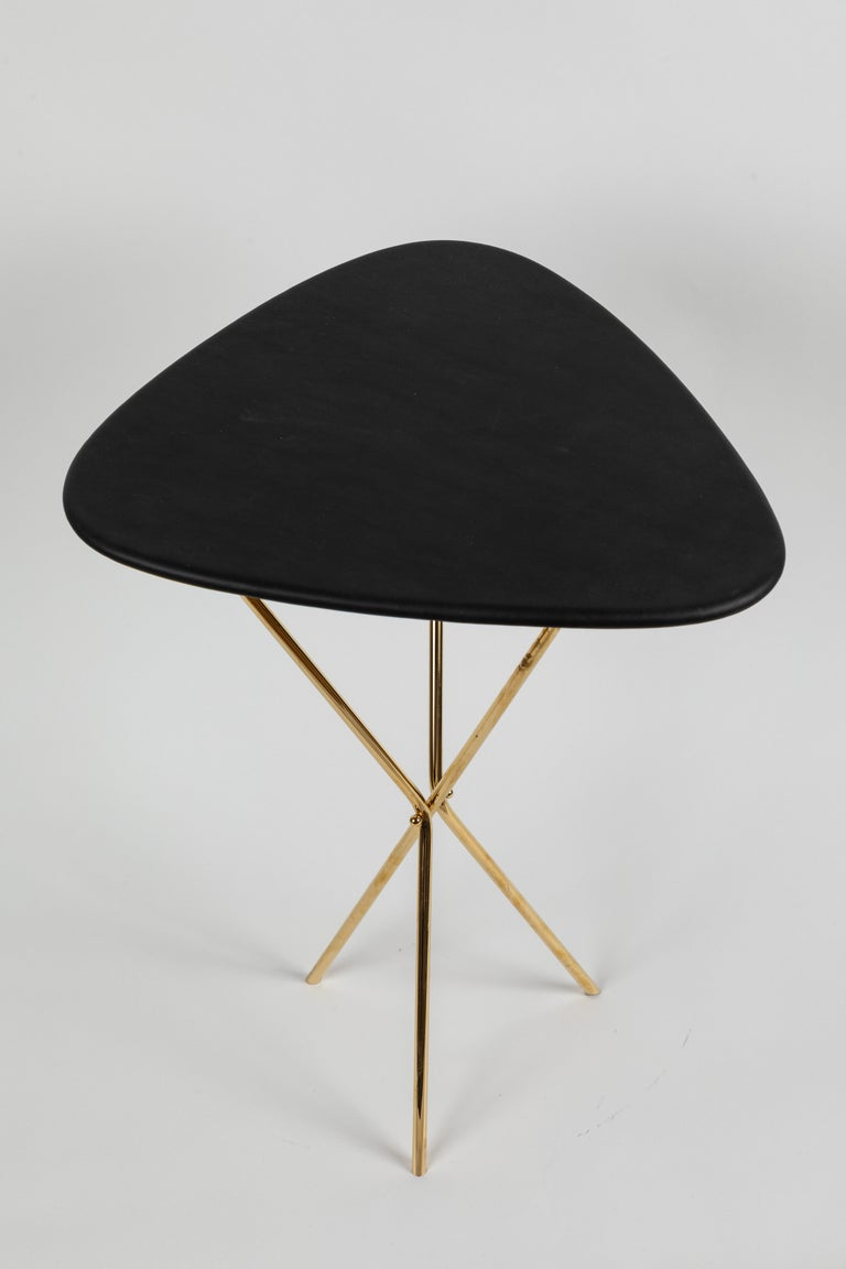 Mid-Century Modern Carl Auböck Model #3642 Brass and Leather Table For Sale