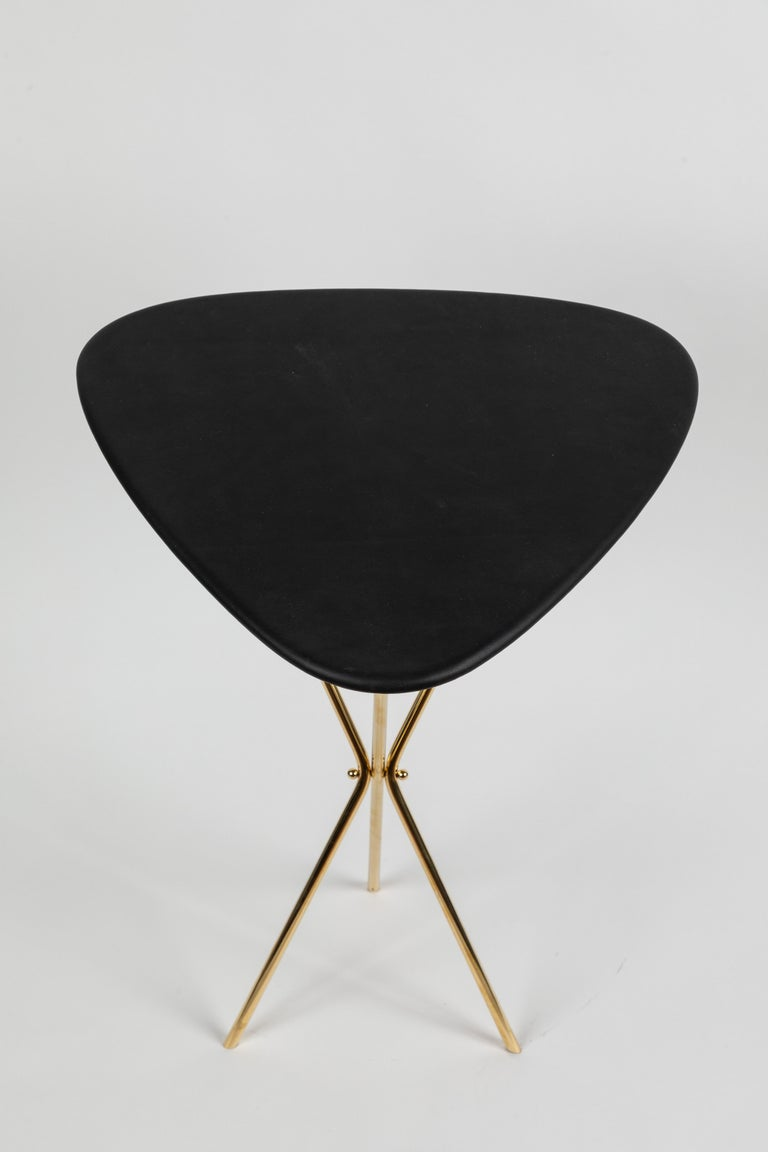 Austrian Carl Auböck Model #3642 Brass and Leather Table For Sale