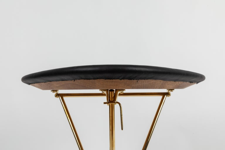 Carl Auböck Model #3642 Brass and Leather Table In New Condition For Sale In Glendale, CA