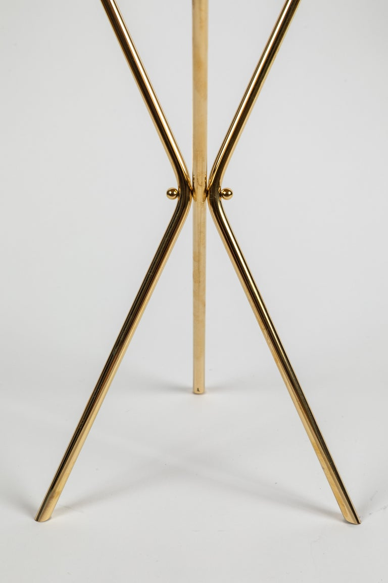 Contemporary Carl Auböck Model #3642 Brass and Leather Table For Sale