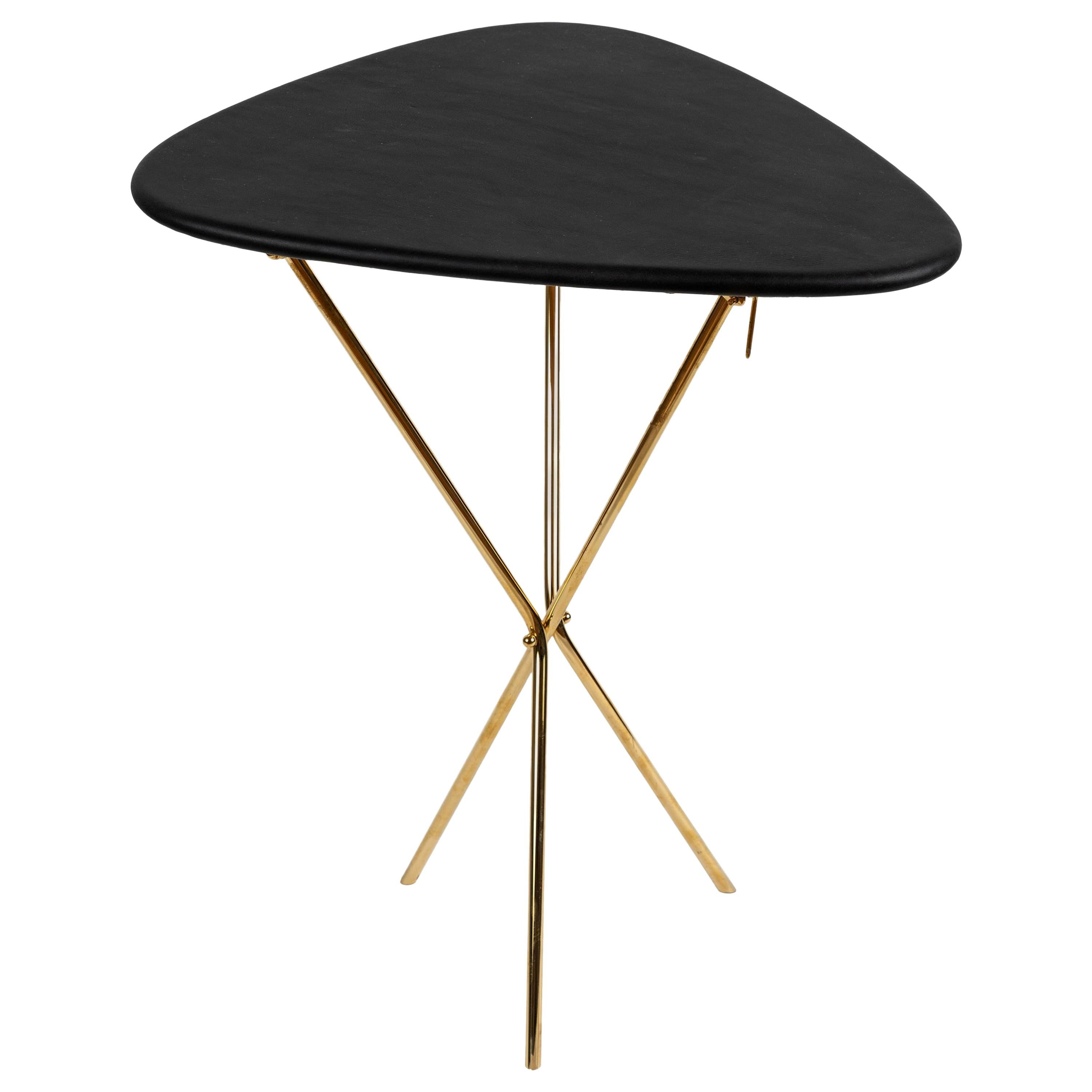 Carl Auböck Model #3642 Brass and Leather Table
