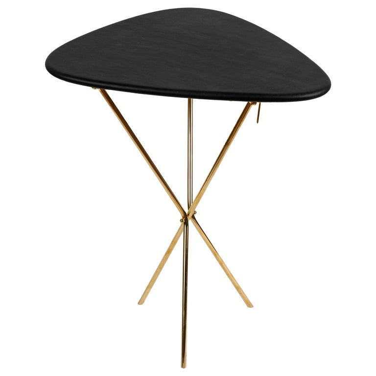 Carl Auböck Model #3642 Brass and Leather Table For Sale