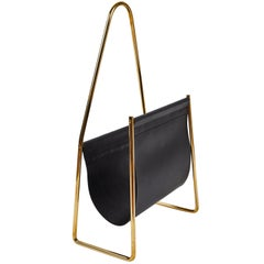 Carl Auböck Model #3808 Brass and Leather Magazine Rack