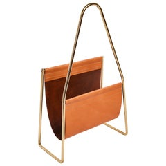 Carl Auböck Model #3808 Brown Leather and Brass Magazine Rack
