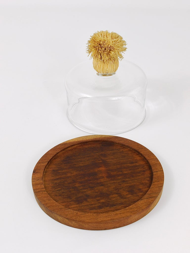 Mid-Century Modern Carl Auböck Modernist Cheese Bell Walnut Board with Glass Dome, Austria, 1950s For Sale