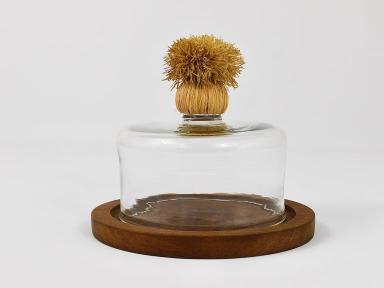 Austrian Carl Auböck Modernist Cheese Bell Walnut Board with Glass Dome, Austria, 1950s For Sale