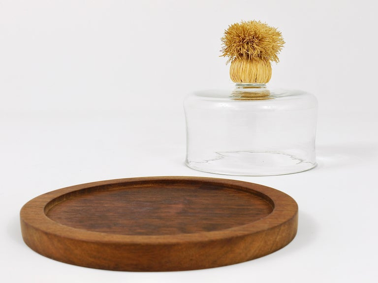 Carl Auböck Modernist Cheese Bell Walnut Board with Glass Dome, Austria, 1950s For Sale 1