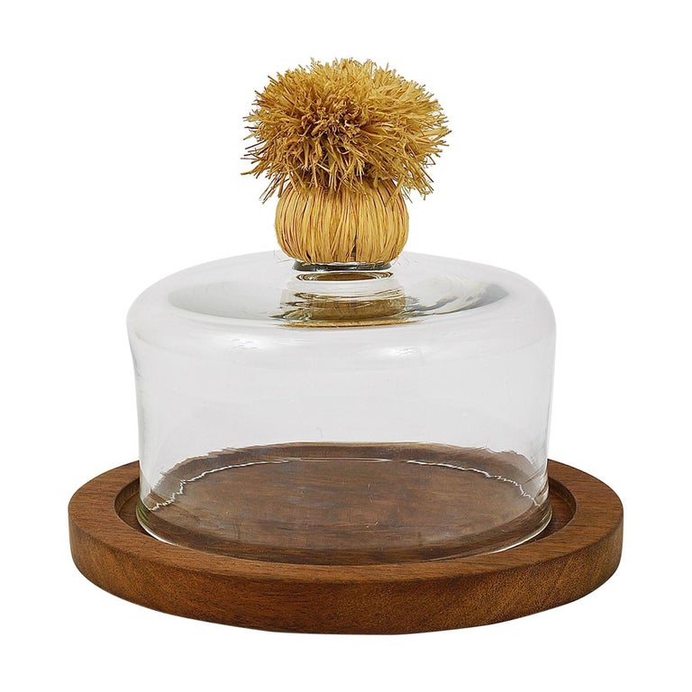 Carl Auböck Modernist Cheese Bell Walnut Board with Glass Dome, Austria, 1950s For Sale