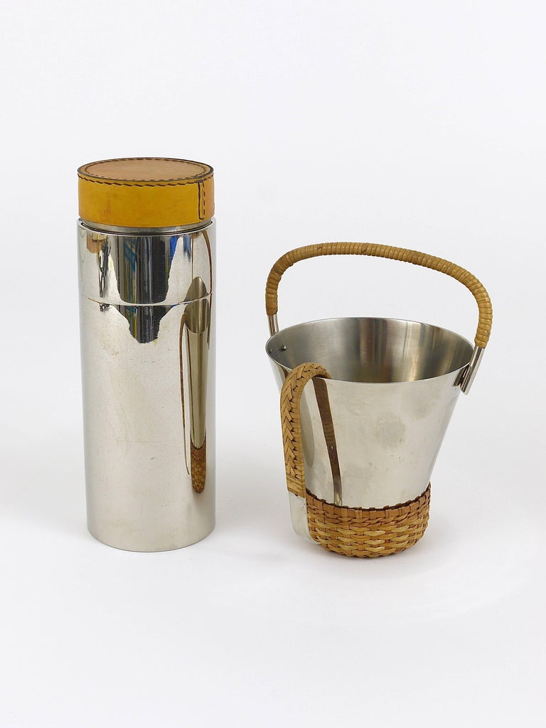 Carl Auböck Nickel-Plated Ice Bucket and Tongs, Brass, Austria, 1950s For Sale 5