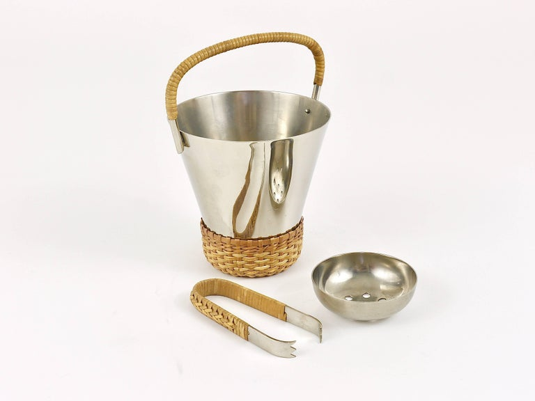 Carl Auböck Nickel-Plated Ice Bucket and Tongs, Brass, Austria, 1950s For Sale 6