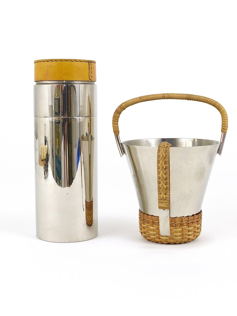 Mid-Century Modern Carl Auböck Nickel-Plated Ice Bucket and Tongs, Brass, Austria, 1950s For Sale