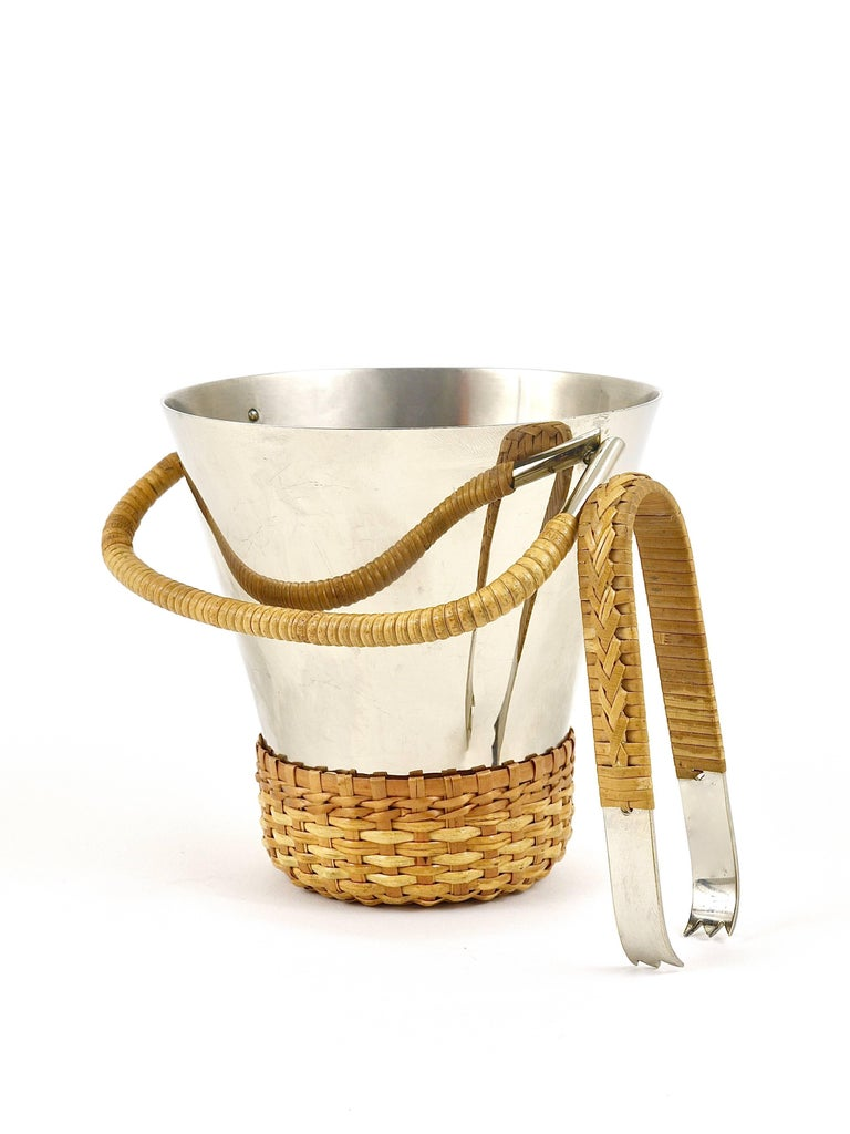 Austrian Carl Auböck Nickel-Plated Ice Bucket and Tongs, Brass, Austria, 1950s For Sale