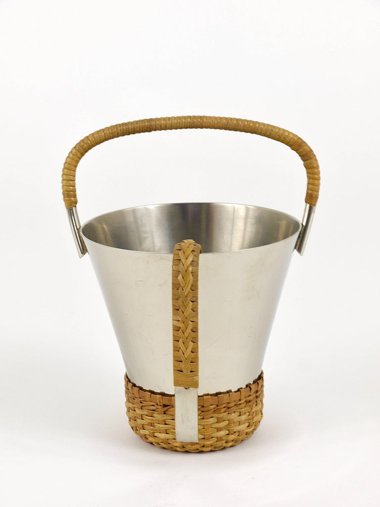 Carl Auböck Nickel-Plated Ice Bucket and Tongs, Brass, Austria, 1950s In Excellent Condition For Sale In Vienna, AT