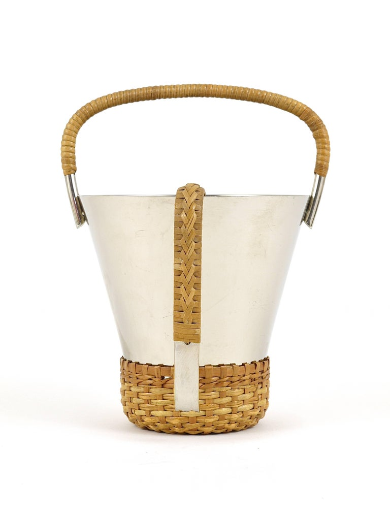 20th Century Carl Auböck Nickel-Plated Ice Bucket and Tongs, Brass, Austria, 1950s For Sale