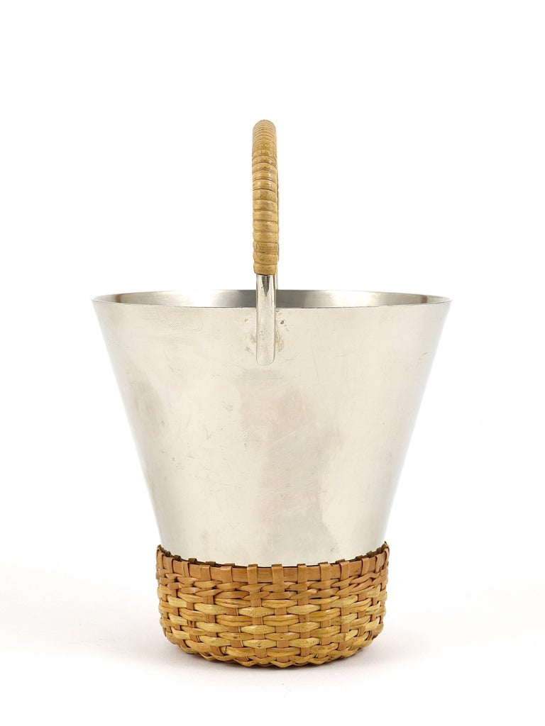 Carl Auböck Nickel-Plated Ice Bucket and Tongs, Brass, Austria, 1950s For Sale 1