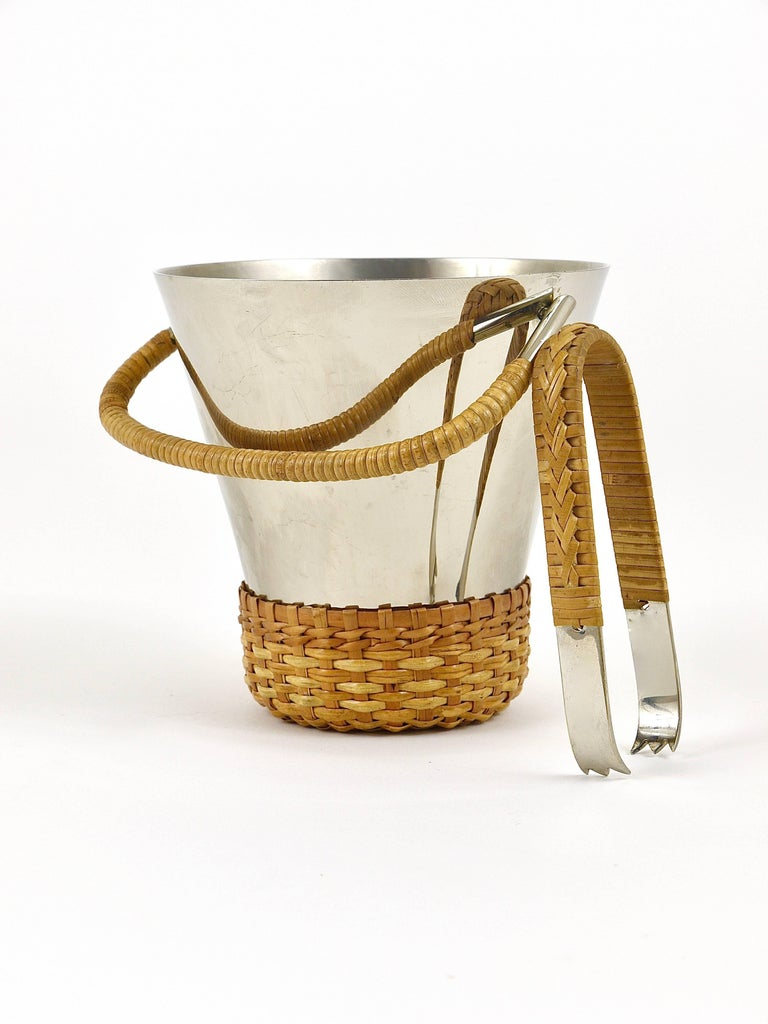 Carl Auböck Nickel-Plated Ice Bucket and Tongs, Brass, Austria, 1950s For Sale 2