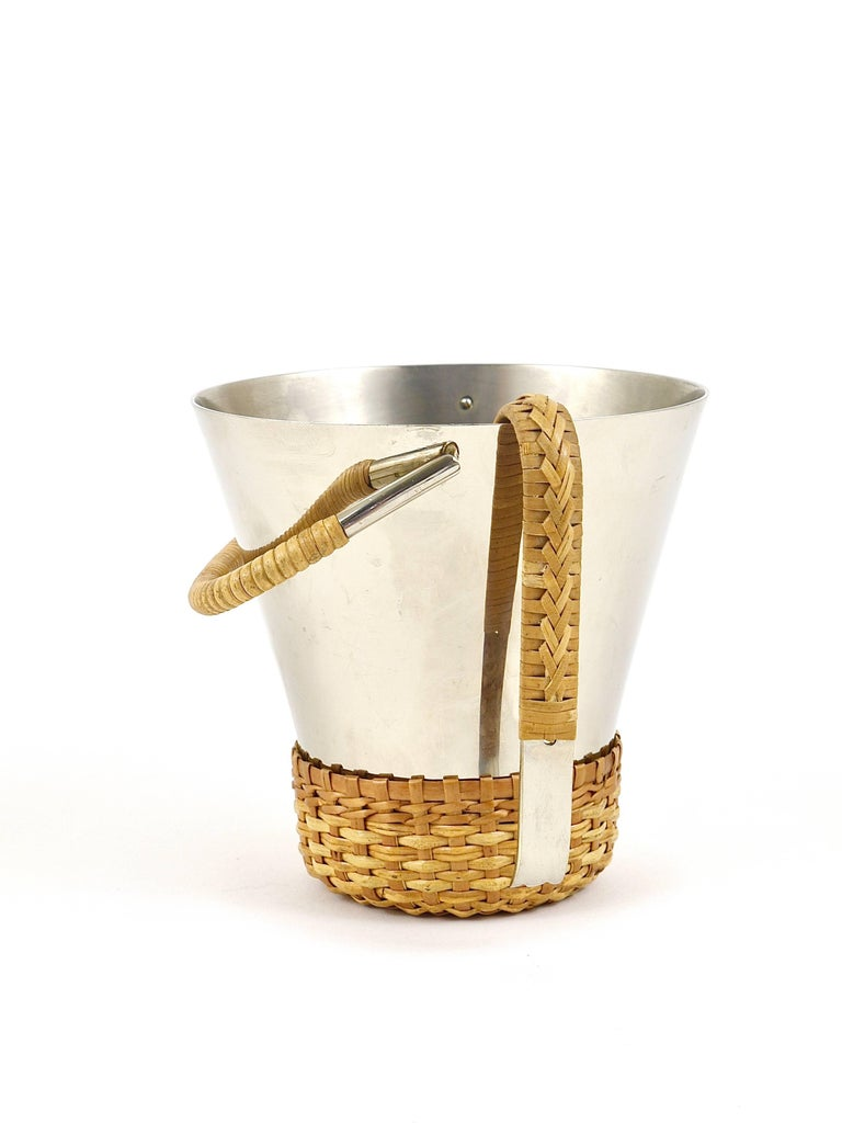 Carl Auböck Nickel-Plated Ice Bucket and Tongs, Brass, Austria, 1950s For Sale 3