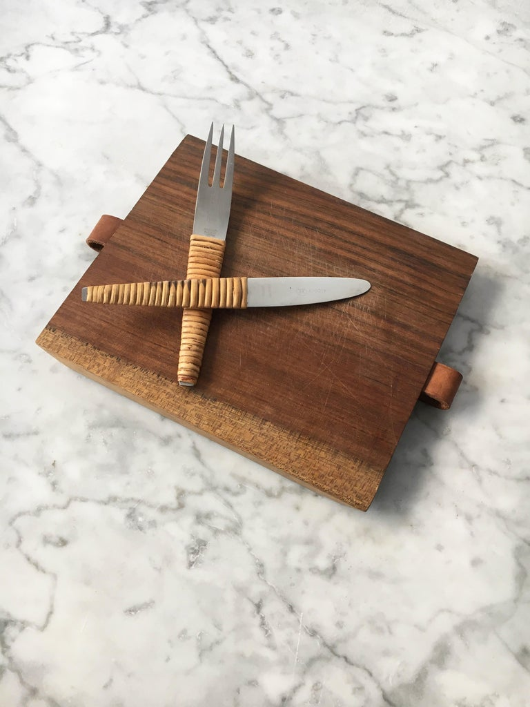 Carl Auböck Pic-Nick Board with Knife and Fork, Austria, 1950s In Good Condition For Sale In Vienna, AT