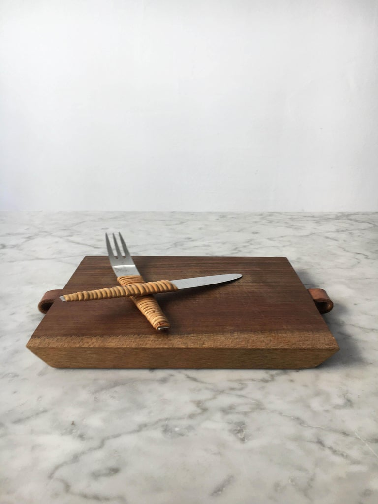 Mid-20th Century Carl Auböck Pic-Nick Board with Knife and Fork, Austria, 1950s For Sale