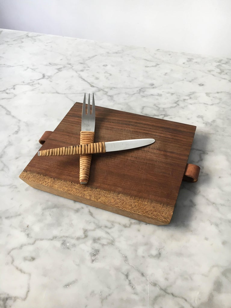Stainless Steel Carl Auböck Pic-Nick Board with Knife and Fork, Austria, 1950s For Sale
