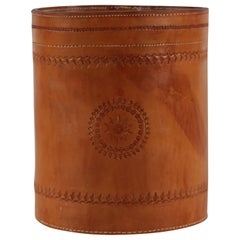 Carl Auböck style Wastepaper Basket of Genuine Cognac Core Leather, 1970s