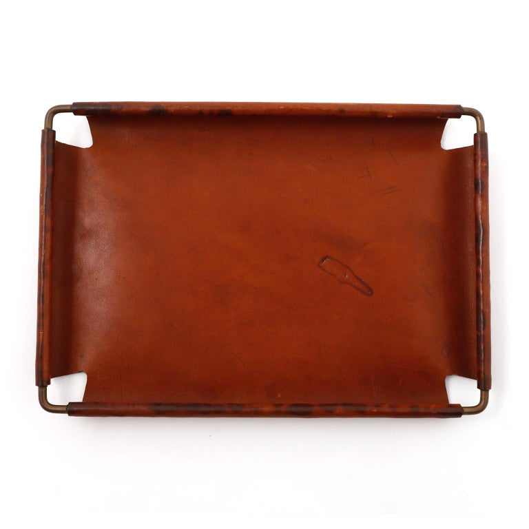Austrian Carl Auböck Tray Salver, Brass Leather, Austria, 1950s For Sale