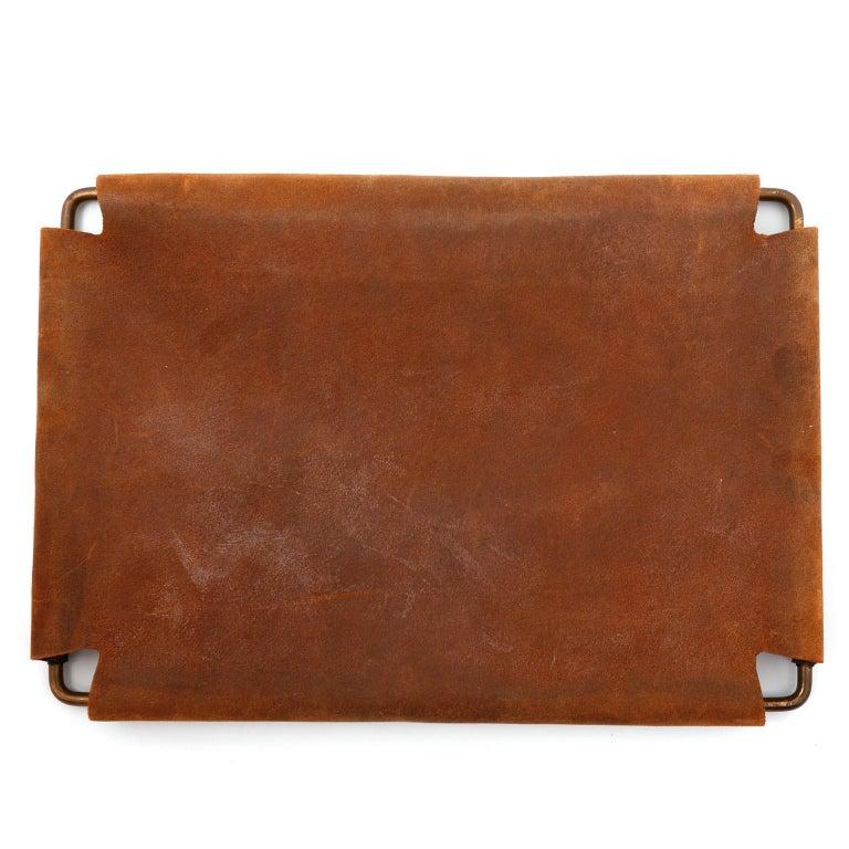 Carl Auböck Tray Salver, Brass Leather, Austria, 1950s For Sale 1